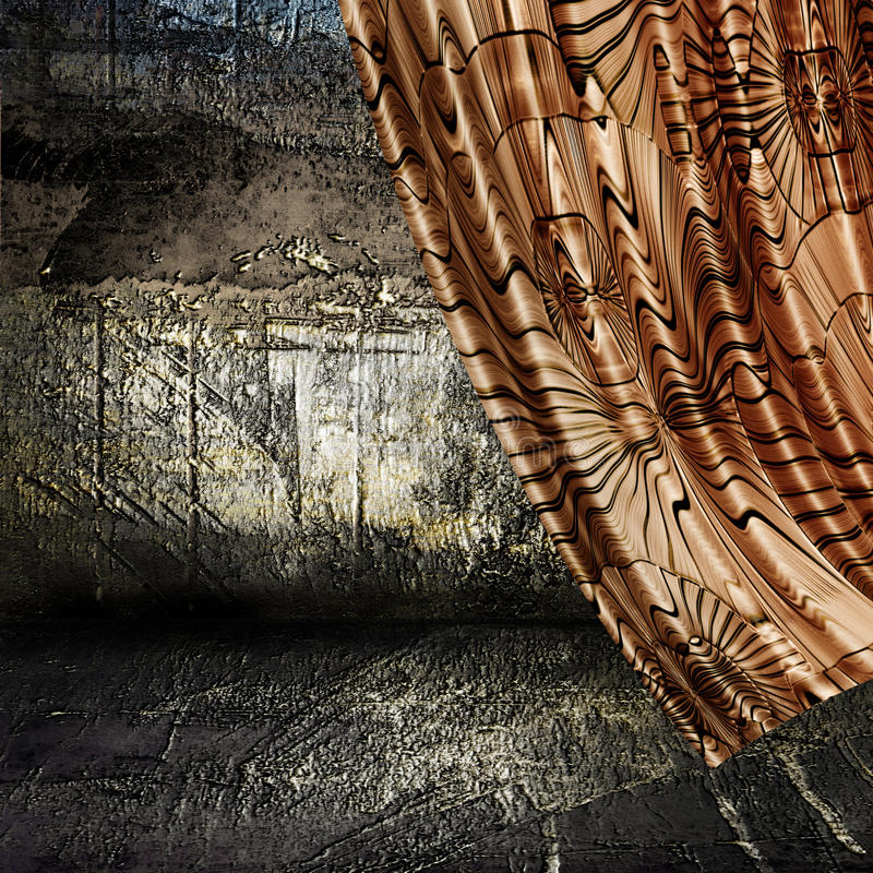 Curtain and grunge wall background vector illustration