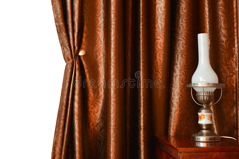 Curtain. Interior with curtain, bed and lamp in natural light stock photos