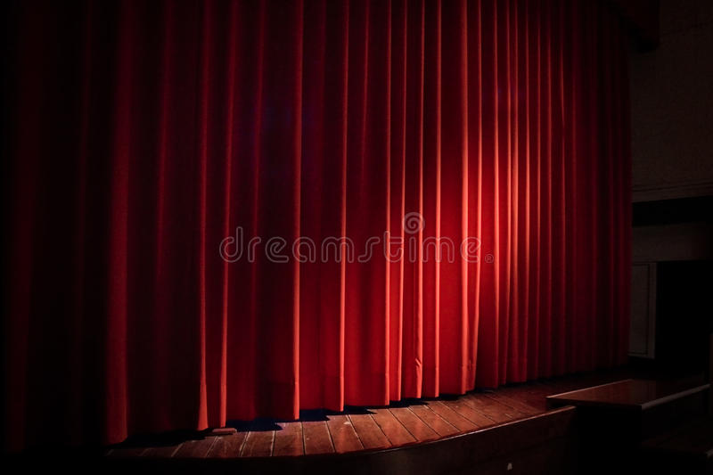 Curtain. Red curtain in a theater stock photo