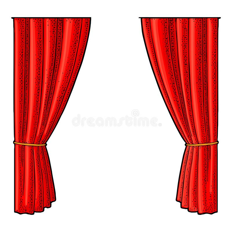 Curtain for theater. Vector engraving vintage color. Illustration. Isolated on white background. Hand drawn design element for poster vector illustration