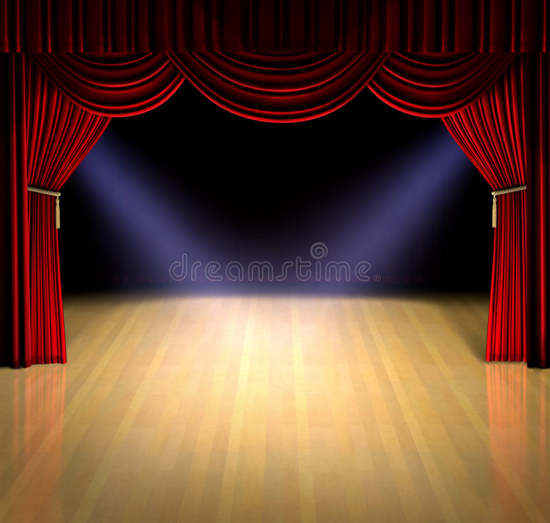 Curtain Up. Theatre stage with red curtain and spotlights on the stage floor