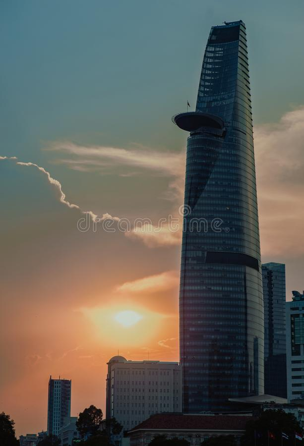 Curtain Wall High-rise Building during Sunset royalty free stock image