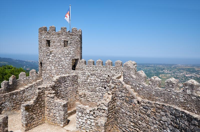 The curtain walls and solid tower of the Castle of the Moors. S stock image