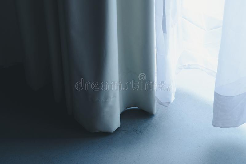 Curtain with white sheer curtains. draperies at a window. Close up of curtain with white sheer curtains. draperies at a window stock photos