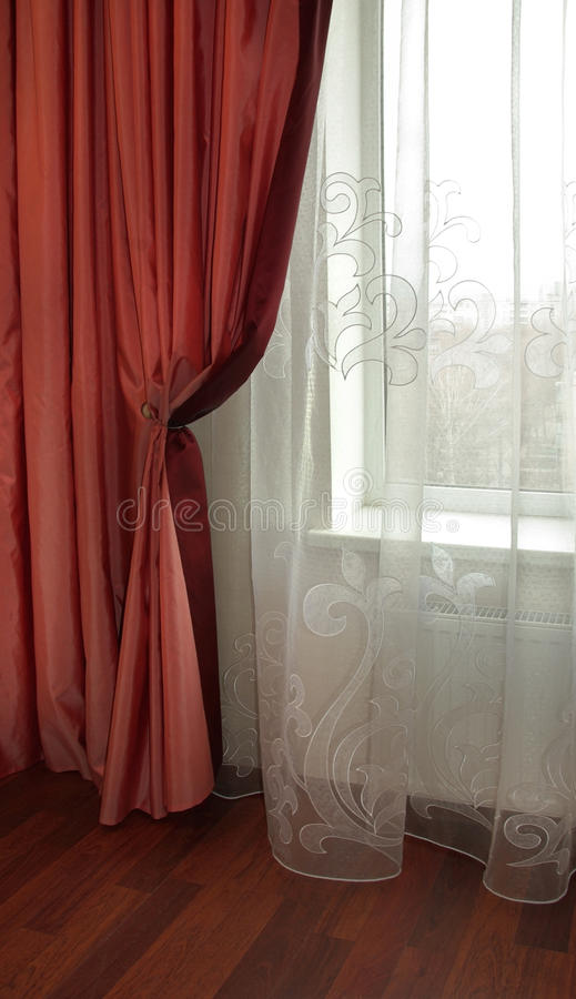 Curtain window. Interior Design - drapery window curtain and tulle stock image