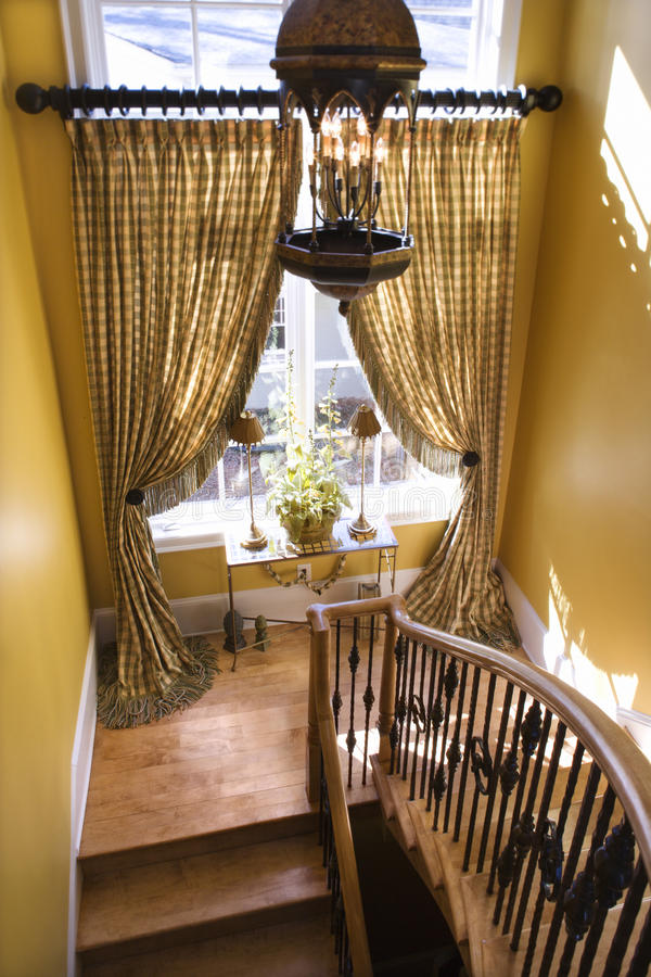 Curtained Window On Stair Landing Stock Photography