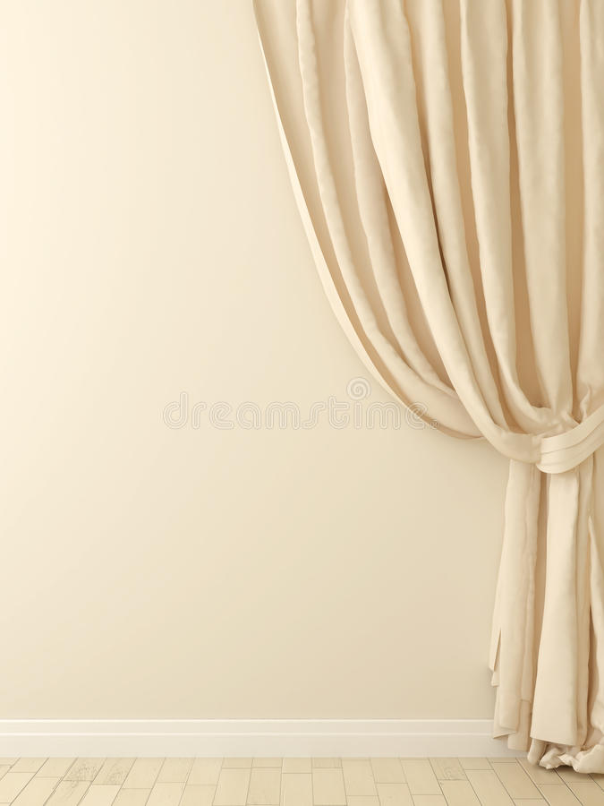 Download Curtains Against A Beige Wall Stock Photo