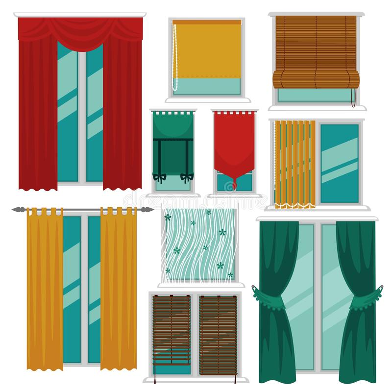 Curtains blinds and shutters on windows fabric and wood interior design vector illustration