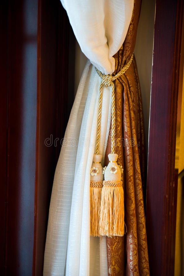 Curtains with ornaments royalty free stock image