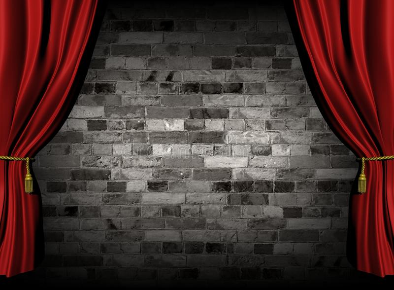 Curtains and wall stock illustration