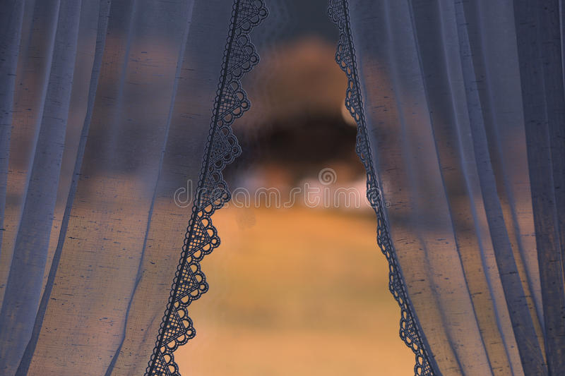 Curtains. At the window, detailed view stock images
