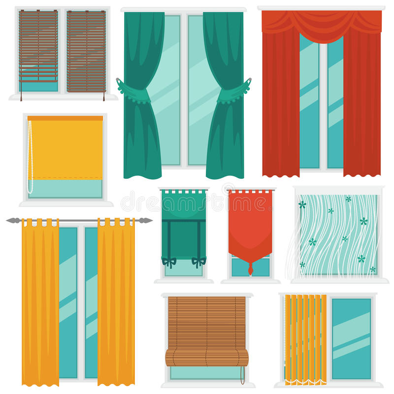 Curtains on Windows Colourful Vector Collection royalty free illustration
