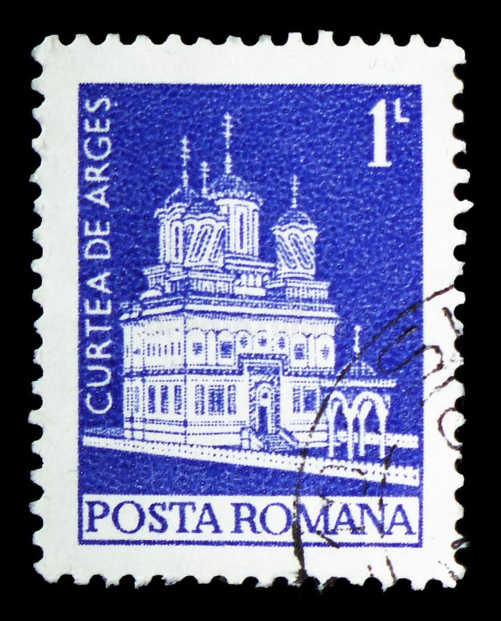 Curtea de Arges Monastery, Definitives - serie dei monumenti, circa 1973 fotografia stock