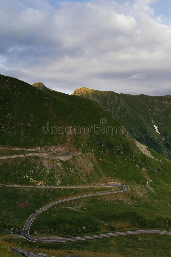 Transfagarasan Road in Romania, DN7C Greatest driving road. Curtea de Arges side of DN7C also known as Transfagarasan, the Road that Top Gear / Grand Tour stock photography
