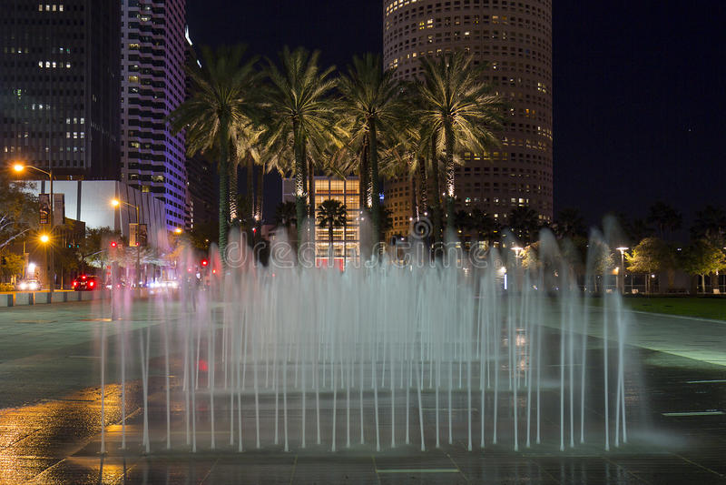 Curtis Hixon park, Tampa Przy nocą obrazy stock