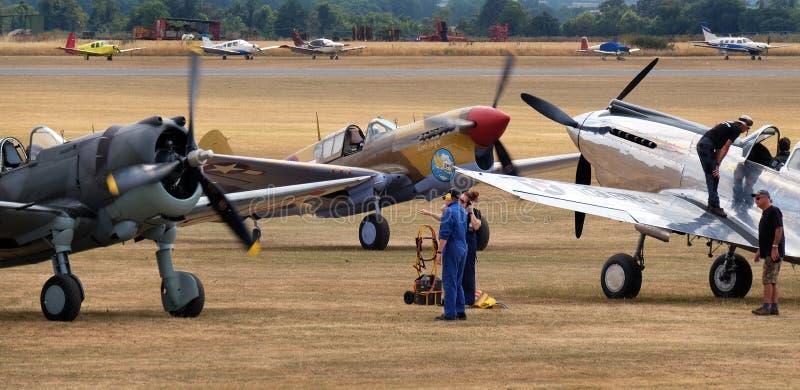 Curtis P36, P40F Warhawk i P40C wojny światowa dwa amerykanina wojownik, zdjęcia royalty free