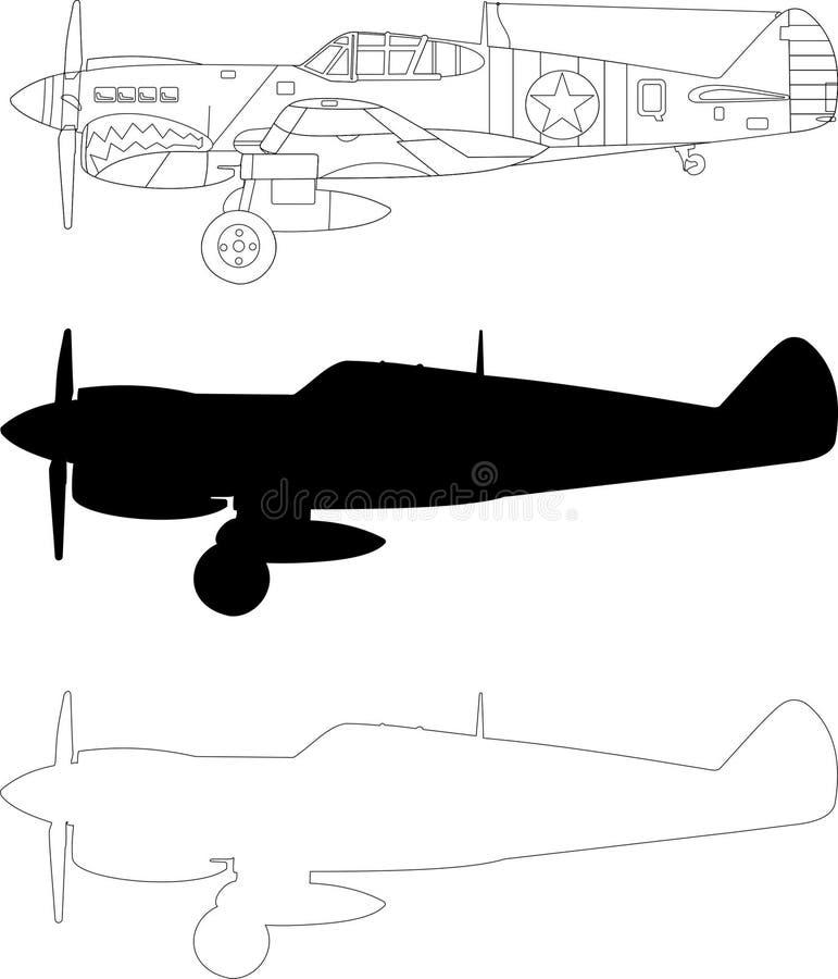 Curtiss P40 stock illustrationer