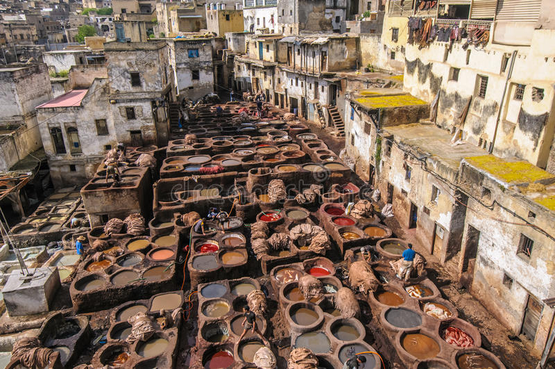 Curtume no fez, Marrocos imagens de stock