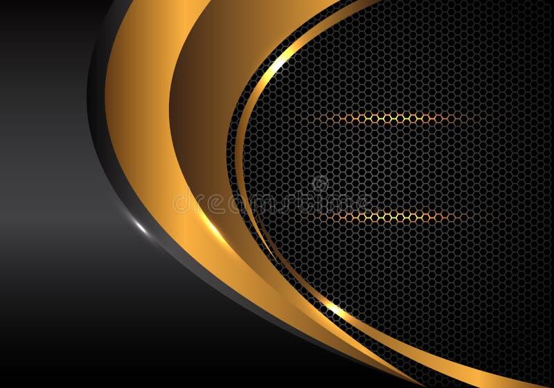 Curva abstracta del oro y metálico gris en vector futurista de lujo moderno del fondo del diseño de la malla del hexágono ilustración del vector