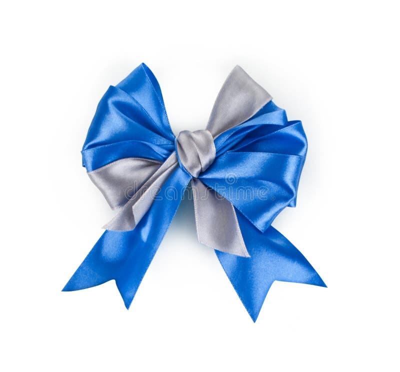 Curva azul bonita do presente do cetim foto de stock