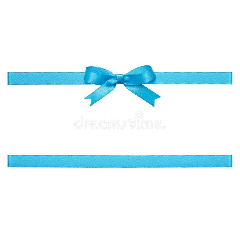 Curva azul feita da fita do cetim imagem de stock
