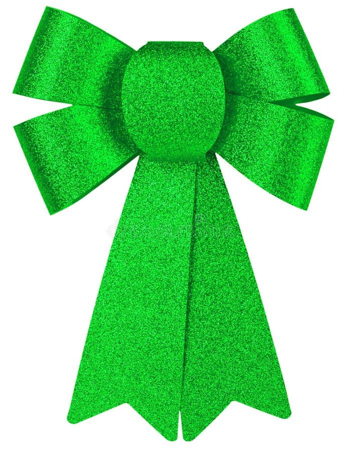 Curva brilhante verde do presente com close-up do brilho isolada em um fundo branco imagem de stock