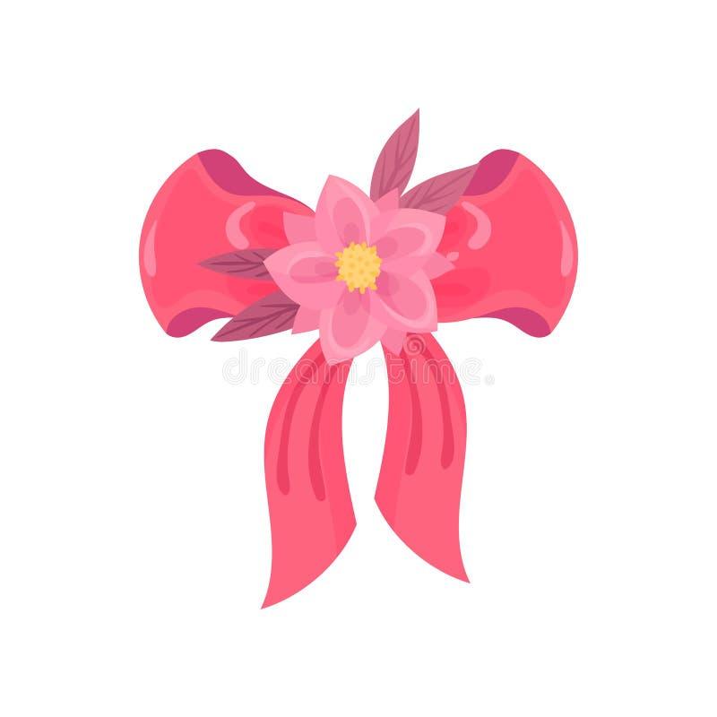 Curva cor-de-rosa da fita do cetim Ilustra??o do vetor no fundo branco ilustração do vetor