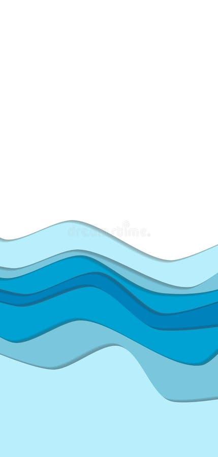 A curva da água azul acena o fundo ilustração royalty free
