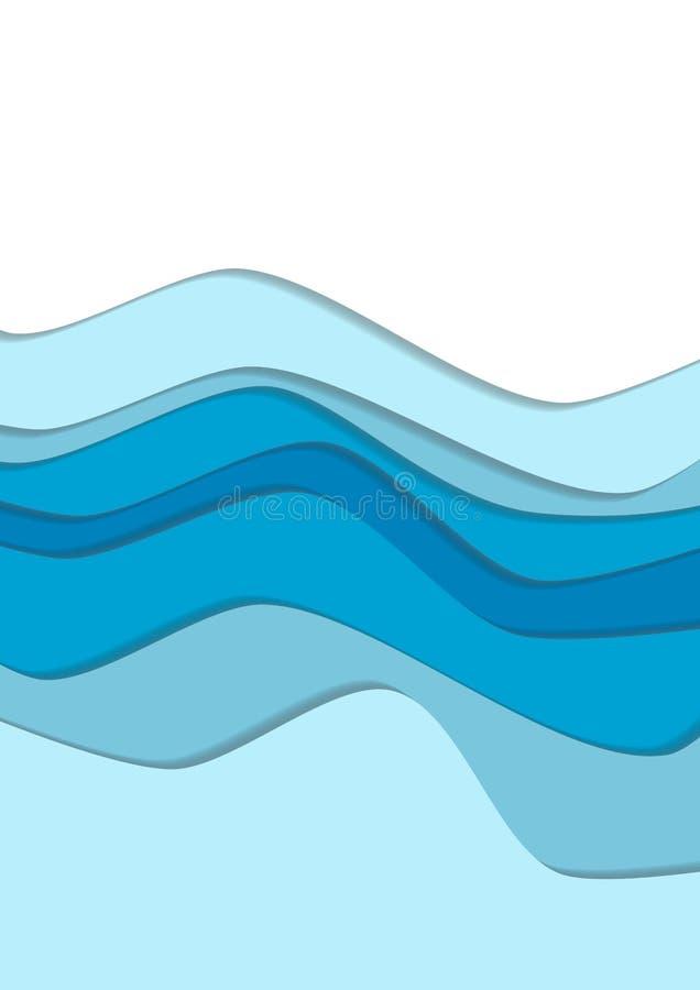 A curva da água azul acena o fundo ilustração do vetor