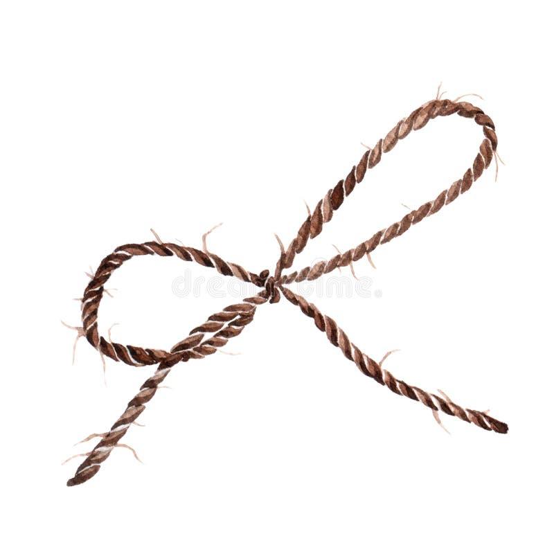 Curva da corda, ilustração da aquarela da fita ilustração do vetor