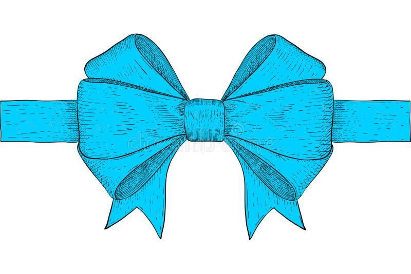 Curva da fita azul Esboço colorido tirado mão ilustração stock