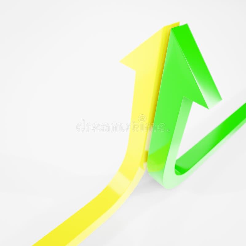 a curva de crescimento termina com um amarelo e uma ilustração verde da seta 3d rendidos imagens de stock