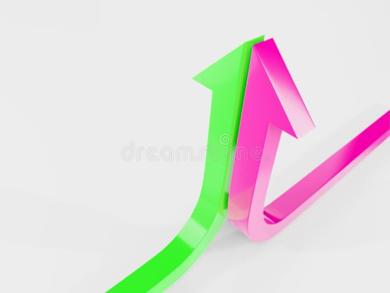 a curva de crescimento termina com um verde e uma ilustração cor-de-rosa da seta 3d rendidos fotografia de stock royalty free