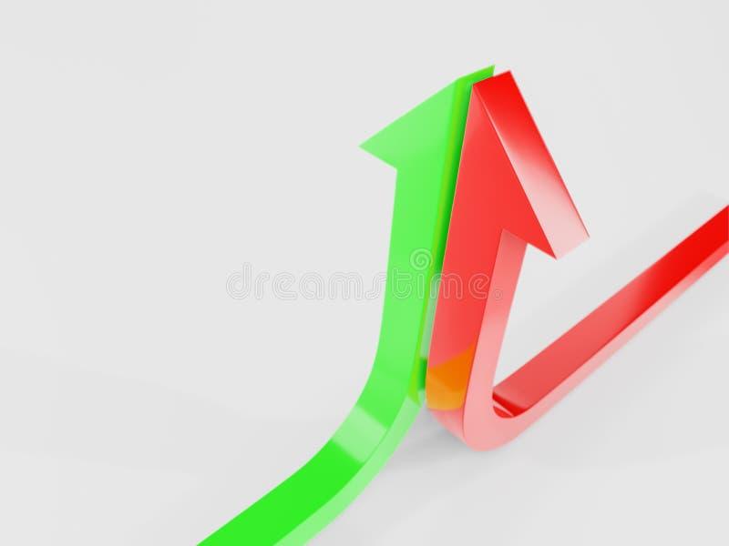 a curva de crescimento termina com um verde e uma ilustração vermelha da seta 3d rendidos imagens de stock royalty free