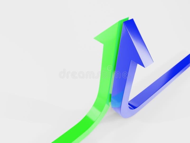 a curva de crescimento termina com um verde e uma seta azul 3d imagens de stock royalty free