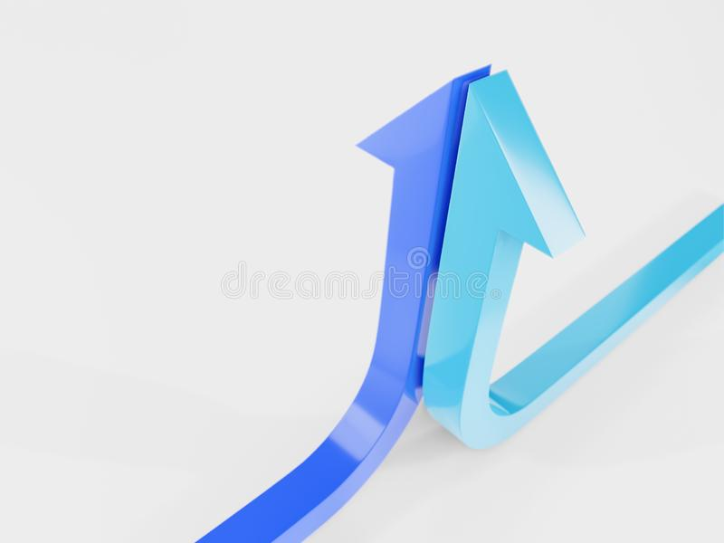 a curva de crescimento termina com uma ilustração azul da seta 3d rendida imagens de stock royalty free