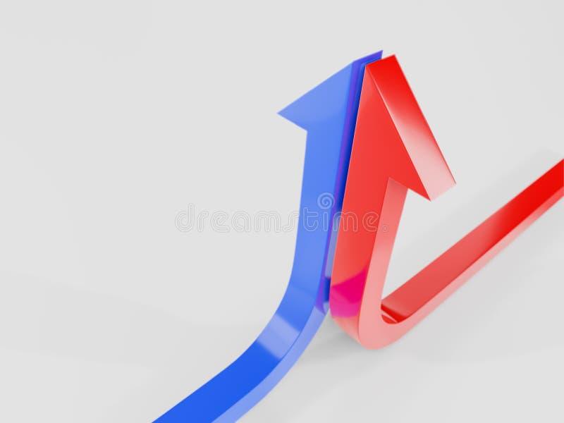 a curva de crescimento termina com uma ilustração azul e vermelha da seta 3d rendida fotografia de stock