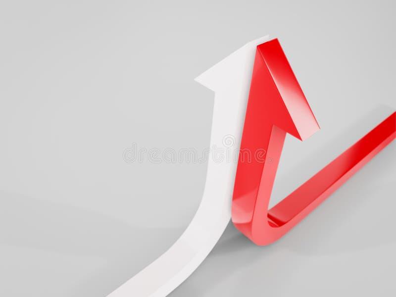 a curva de crescimento termina com uma ilustração branca e vermelha da seta 3d rendida fotos de stock