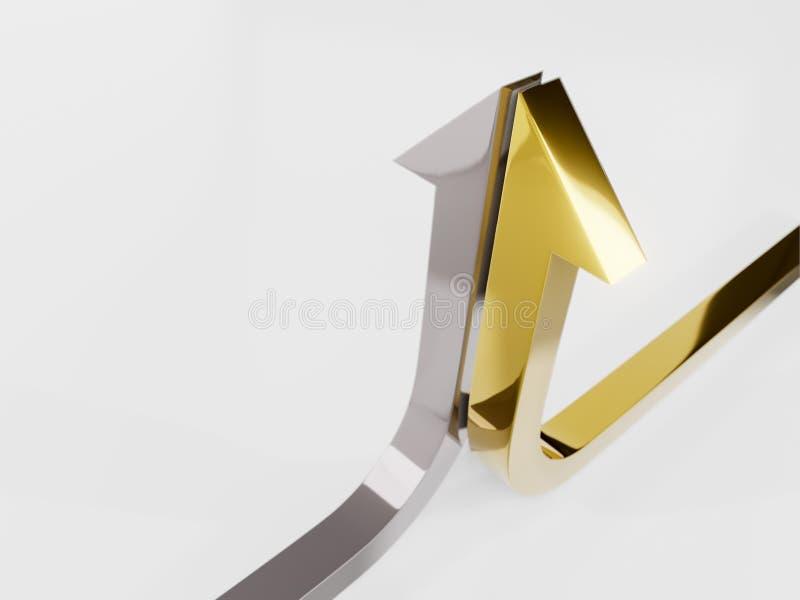 a curva de crescimento termina com uma ilustração da prata e da seta 3d rendida imagem de stock
