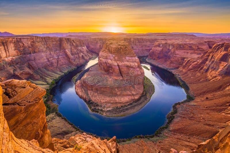 Curva de herradura en el río de Colorado fotografía de archivo libre de regalías