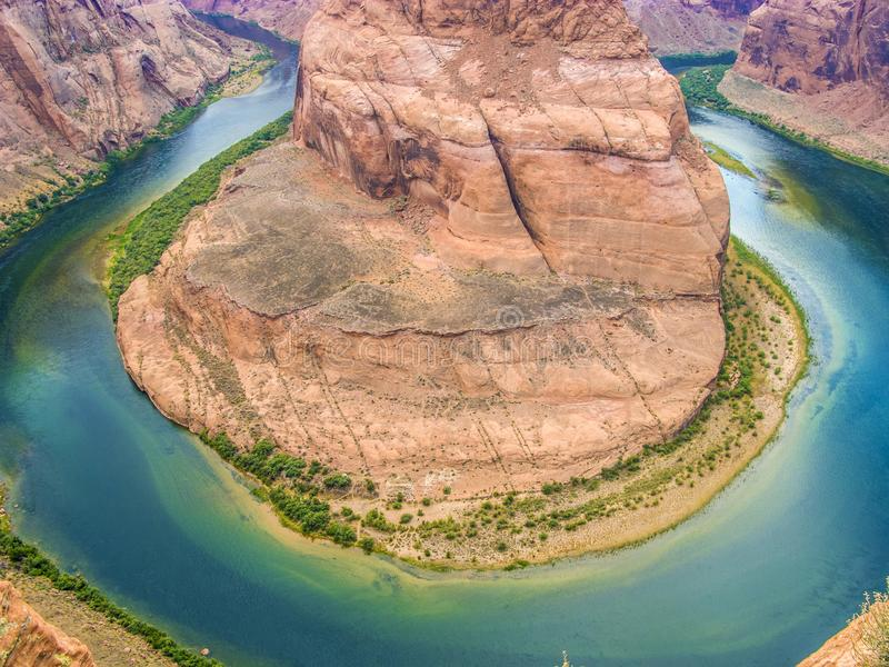curva de herradura en la página, Arizona, río Colorado foto de archivo libre de regalías