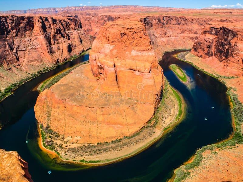 Curva de herradura, meandro de la página cercana del río Colorado, Arizona, los E.E.U.U. imagen de archivo