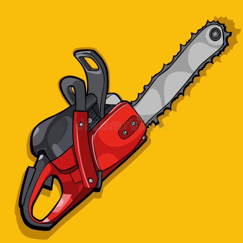 Curva de la historieta de una motosierra en un fondo amarillo stock de ilustración