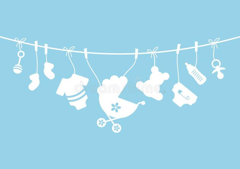 Curva de suspensão horizontal do menino de nove ícones do bebê azul e branca ilustração royalty free