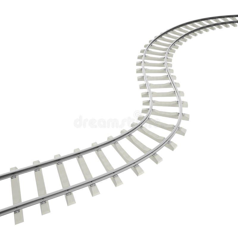 Curva del ejemplo, ferrocarril de la vuelta en el fondo blanco ilustración del vector