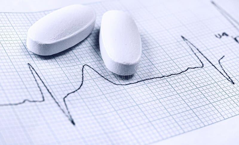 Curva del latido del corazón en prueba del cardiograma imagen de archivo libre de regalías