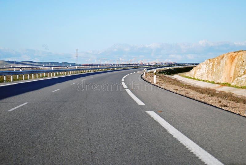 Curva della strada principale A6 fotografie stock libere da diritti