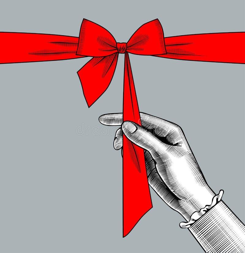 Curva desatando da mão do ` s da mulher da fita vermelha ilustração royalty free