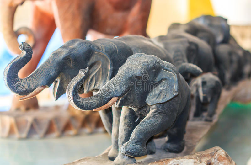 Curva di legno dell'elefante immagine stock libera da diritti