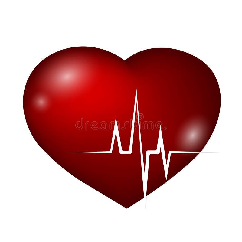 Curva do coração e do ritmo ilustração royalty free